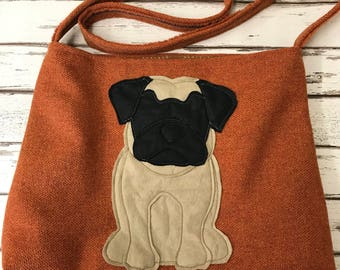 Pug cross body or shoulder tote style bag in burnt orange pure woollen fabric