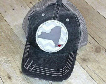Long Island New York Distressed Two Toned Raggy Patch Hat