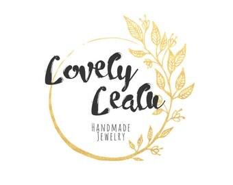 Custom Logo, Gold Wreath Logo, Premade Logo, Logo Design, Business Branding, Pre-made Logo, Logo, Boho Gold Logo