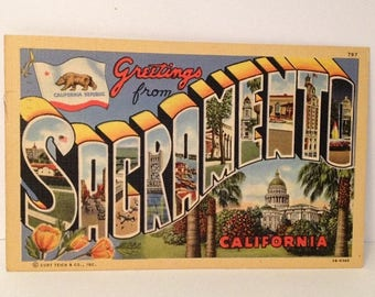 ON SALE Vintage 1943 Linen Postcard Greetings from Sacramento California WWII Era Souvenir Stamped and Mailed