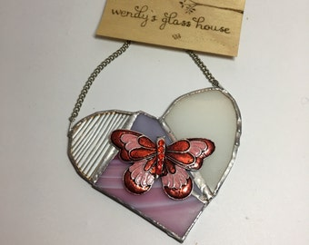 Stained glass heart, butterfly, pink, red