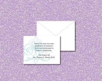 Sympathy thank you cards, Sympathy acknowledgment cards, bereavement cards, funeral cards, funeral thank you cards, vanishing blue ornament