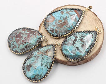 Ocean Jasper Pendants -- With Pave Gold Foil Edge Charms Wholesale Supplies YHA-211