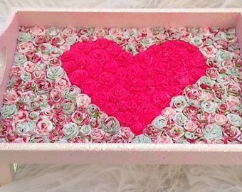 Pink Floral Breakfast Tray (upcycled)