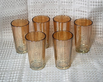 "Set of Six (6) ~ Carnival Glass/Iridescent Peach/Amber/Marigold/Luster Drinking Glasses ~ Tumblers ~ 5"" Tall ~ Holds 10 ounces"