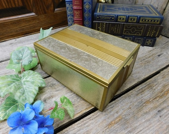 Vintage 1940's Wood Jewelry Box with Mirror and Storage Compartments