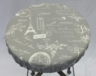 Paris print gray and white elasticized round barstool cover, kitchen counterstool seat cover, washable cotton fabric, removable