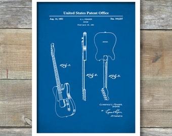 Patent Print, Guitar Patent, Fender Telecaster Guitar Patent 1951, Wall Decor, Music Poster, Music Art, Musical Instrument Patent, P453