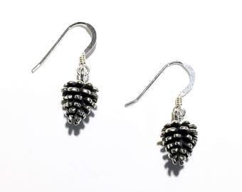 Sterling Silver Pinecone Drop Earrings