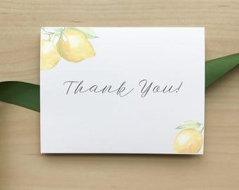 Wedding Thank You Cards / Lemon Summer Citrus / Bridal, Engagement, Baby Shower Thank You Card / #1114