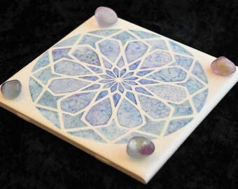 Hand Painted Square Rose, Watercolor Blues, Sacred Geometry tile, FB1162