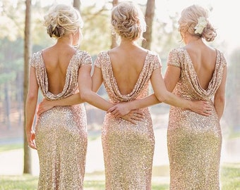 Champagne Sequin Bridesmaid Dress, Long Floor Length Cocktail Dress, Womens Formal Elegant Dress, Prom Dress, Sexy Open Back Dress