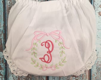 Monogrammed Bloomers,monogrammed diaper cover, personalized baby gift- Sweet Laurel Wreath,