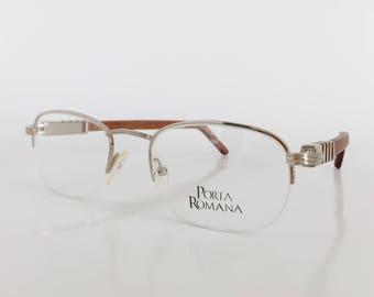 porta romana mod 53 vintage eyeglasses silver and wood eyeglass frame vintage eyewear semi rimless bamboo temples cartier style glasses