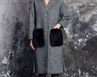 Women's wool coat with fox fur pockets, grey wool coat, fox fur coat, dark grey wool coat, maxi coat, oversize wool coat, women's outwear