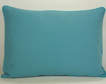 Pillow Cover Turquoise with Border, 12x16 Pillow, Turquoise Pillow