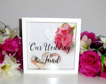 Wedding Fund/Wedding Money Box/Saving for wedding/Wedding Saving/Engagement Present/Wedding fund frame/Wedding box frame/Wedding money pot