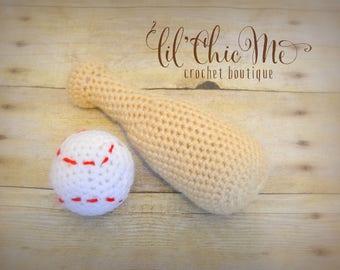 Baseball Bat & Ball Set/Stuffed Toy/Crochet Photo Prop~READY TO SHIP!