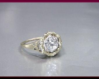 Antique Vintage Art Deco 14K Yellow Gold Old European Cut Diamond Engagement Ring Wedding Ring - ER 614M