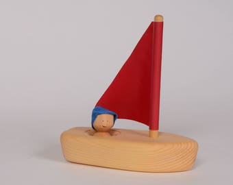 Wooden little ship, bath toy by l'Atelier Cheval de bois