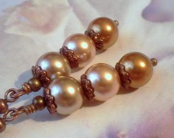 Swarovski Pearls, Swarovski Crystal Pearls, Copper Bronze Rose Gold Earrings, Pearls for Winter, Swarovski Earrings, Traditional Pearls