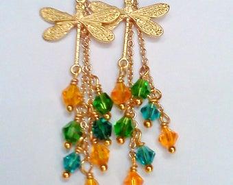 Dragonfly Earrings, Swarovski Earrings, Mulit Colored Dangles, Crystal Earrings, Crystal Dangle Earrings, Blue Gold Green, Dragonfly Dangles