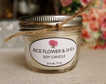Rice Flower & Shea SOY CANDLE Made in Manitoba - Canadian - Essential Oil - Simply Pure - Soy Wax Candles - ARKGifts - ARK Ceramics Gifts