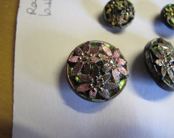 1 iridescent carnival glass  buttons extremely rare  1900's at 22 mm and 2 at  13 mm diameter 210517/19