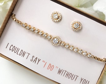 Bridesmaid Earring Bracelet Gift Set Jewelry Set Bracelet Earrings Wedding Jewelry Set Bridal Party Gift Set Earring Bracelet Set B161-E248G