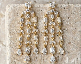 Gold Bridal Earrings, Wedding Long drop Earrings, Bride jewelry, gold earrings, long drop earrings, bridal earrings chandelier E141G