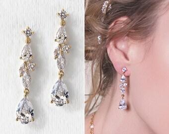 Bridal Earrings Wedding Long drop Earrings Bride jewelry Wedding Earrings gold earrings long drop earrings wedding gift E217G