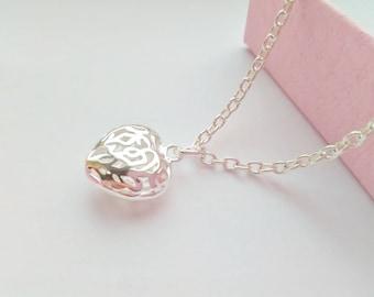 Small Heart Necklace Pendant, Kids Jewellery, Flower Girls Necklaces, Child Pendant Jewellery Gifts, Xmas Stocking Stuffers Fillers