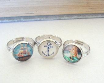 Nautical Ring, Mermaid Ring, Anchor Ring, Ocean Inspired, Rhodium Titanium