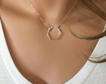 Double Hexagon Necklace on Gold Filled Chain // Mother Daughter Necklace // Hexagon Jewelry // Mothers Day Gift // Geometric Jewelry // Hex