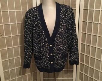 Vintage Designer Ann Taylor 1970s Silk Cardigan