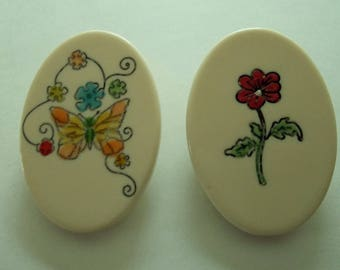 Two  Pair  Vintage 70's Flower Butterfly pins