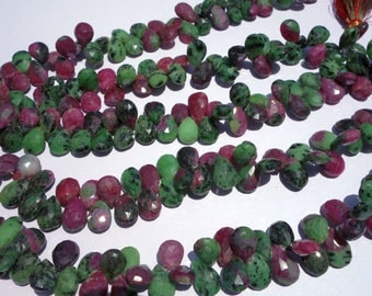 100% Natuaral Ruby ZositeFaceted Almond9x13x10x14mmLoose Gemstone Beads @DSC05594