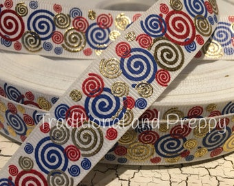 3 yards Patriotic Silly Swirls red white blue and gold grosgrain ribbon