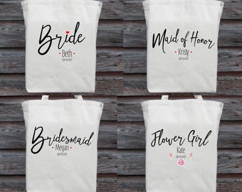 Wedding Tote Bundle, Brides Tote, Bridesmaid Tote, Maid of Honor Tote, Flower Girl Tote, Wedding Party Totes, Wedding Totes,