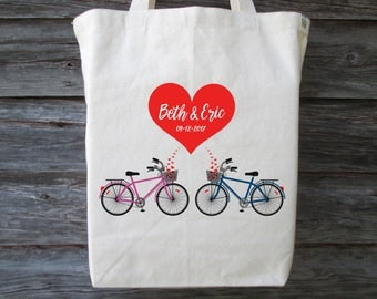Wedding Tote Bag, Bicycle Wedding Tote, Bicycle Tote, Wedding Welcome Bag,  Wedding Gift Bag, Wedding Tote, Bicycle For Two, Bicycle