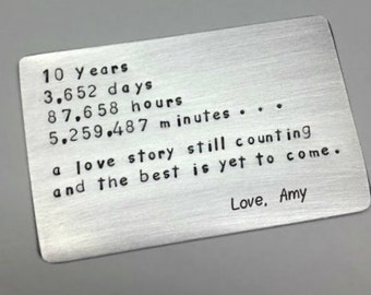 10 ten tin year ANNIVERSARY Gift ~ Wallet insert love note card  ~ Traditional Aluminum Gift ~