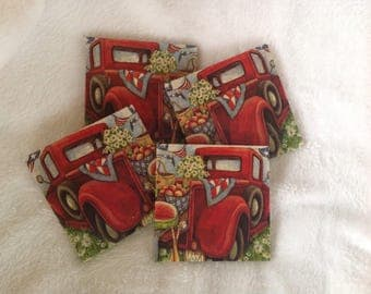 Natural Stone Vintage Red Truck Coasters, Beverage Coasters, Beer Coasters, 4th of July Coasters