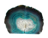15% SALE Agate Book Ends Teal Agate Bookend Pair - 1 to 3 lb - Geode Bookend - Home Decor - Crystal and Stones BKE