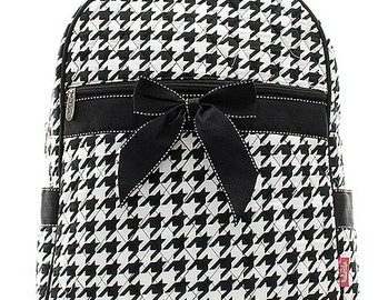 Personalized Houndstooth Print Quilted Backpack with Bow * Custom Embroidered Book Bag with Monogram or Name * Gift