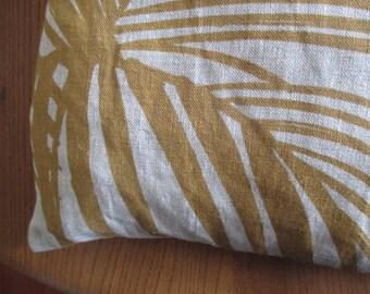 100% Linen Throw Pillow - Palm Design