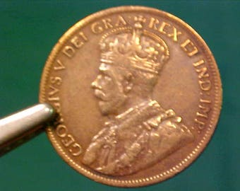 Canadian One Cent Coin 1915 w/King George V High Grade Great Tone