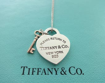 "SALE!! Authentic Tiffany & Co. Please Return to Tiffany Sterling Silver Heart and Metal Key Pendant Necklace, 16"" Tiffany chain"