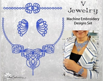 V Jewelry -Machine Embroidery Tatting FSL Designs Set.