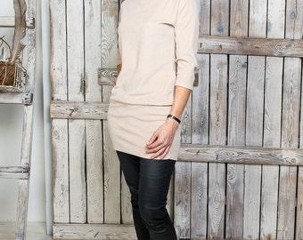 Beige velour tunic - Women cotton tunic - Warm sleeves tunic - Woman velvet tunic - Plain velvet tunic - Velour sandy tunic - Tight tunic
