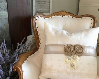 White Linen Pillow Burlap Floral Shabby Cottage Chic Throw Pillow Bedroom Accessory Farmhouse Decor
